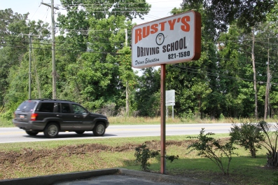 Rusty Driving School Sign on Hwy 78