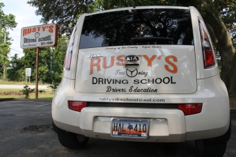 Rusty's Driving School Car and Sign at Summerville Office