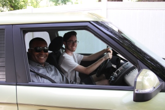 Rusty's Driving School Student Clay Dustin prepares to depart for his on-road lesson with Instructor Timothy Thomas.
